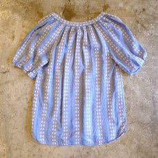 画像2: STRIPE PATTERN EMBROIDERY BLOUSE / LadiesXS(M) (2)
