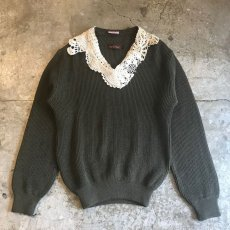 "画像1: 【Wiz&Witch】""DECO"" VINTAGE LACE MILITARY SWEATER / OS (1)"
