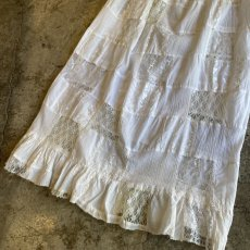 画像5: OLD PATCHWORK LACE TIERED SKIRT / W26~ (5)