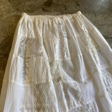 画像4: OLD PATCHWORK LACE TIERED SKIRT / W26~ (4)
