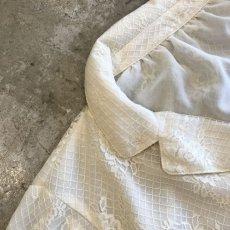 画像7: ALL OVER LACE PATTERN SHEER OPEN COLLAR SHIRT / Ladies M (7)