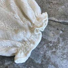 画像5: ALL OVER LACE PATTERN SHEER OPEN COLLAR SHIRT / Ladies M (5)