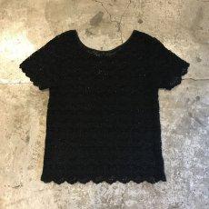 画像2: BLACK COLOR LACE CROCHET S/S TOPS / Ladies M (2)