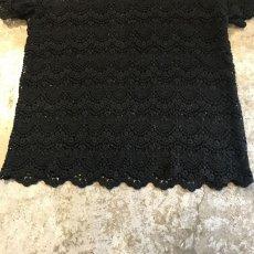 画像8: BLACK COLOR LACE CROCHET S/S TOPS / Ladies M (8)