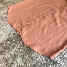 画像4: BROWN COLOR OVER S/S OPEN COLLAR SHIRT / Ladies L (4)