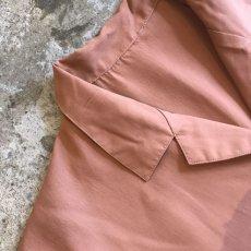 画像7: BROWN COLOR OVER S/S OPEN COLLAR SHIRT / Ladies L (7)