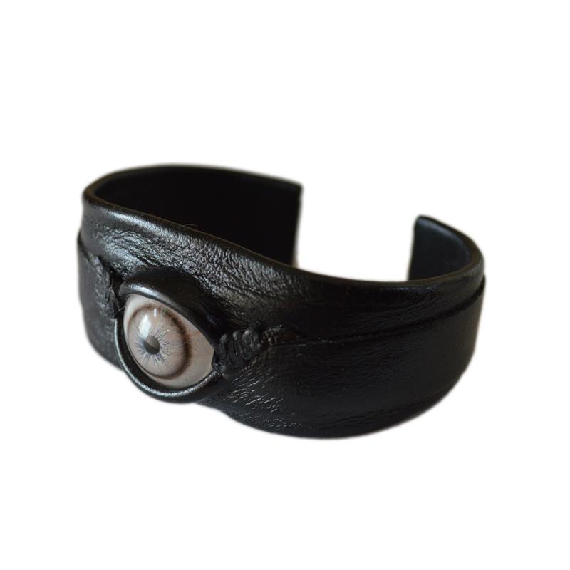 """画像1: Leather """"EYE"""" Bracelet / Black x Blue eye (1)"""