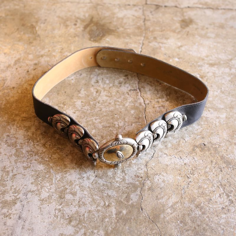 画像1: METAL DESIGN LEATHER BELT (1)