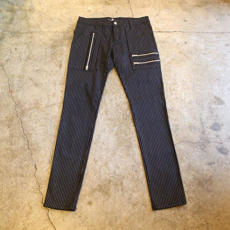 画像1: ZIP DESIGN STRIPE PANTS (1)