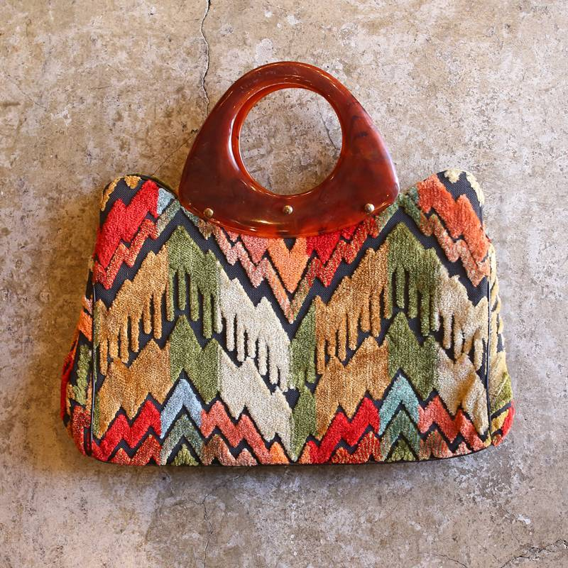 画像1: VINTAGE COLORFUL HAND BAG (1)