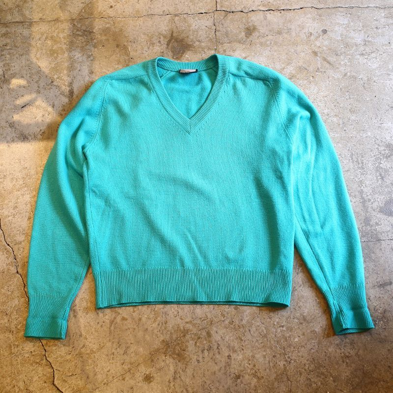 画像1: CASHMERE V NECK DESIGN KNIT TOPS (1)
