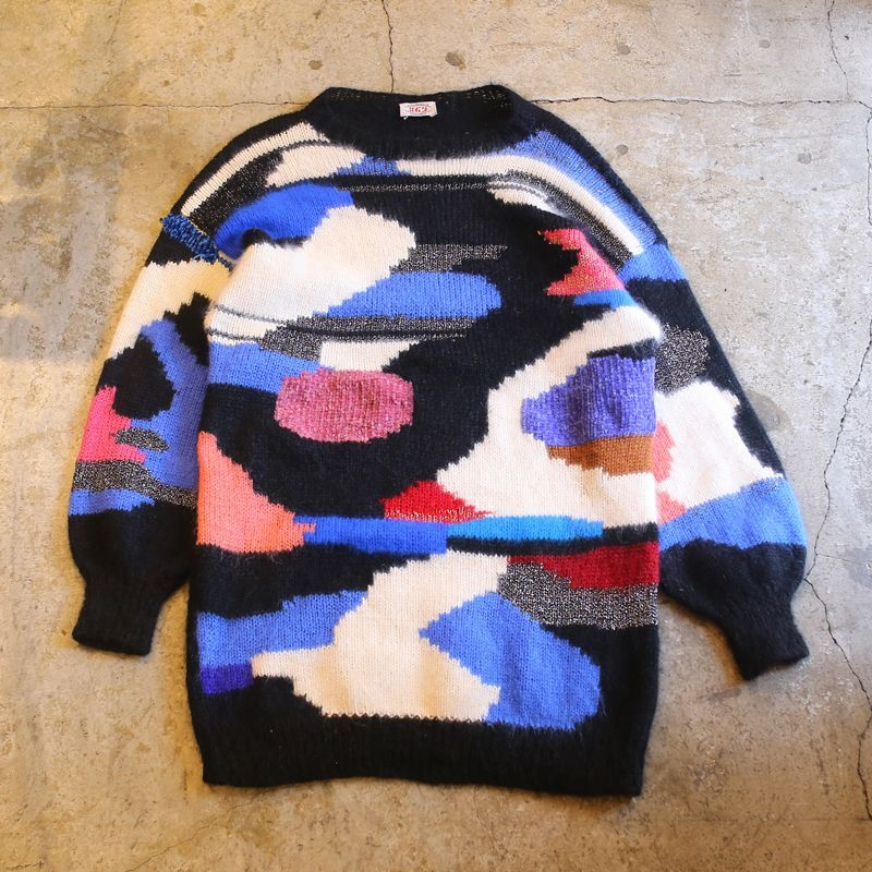画像1: 1980's VINTAGE ART DESIGN KNIT ONE-PIECE (1)