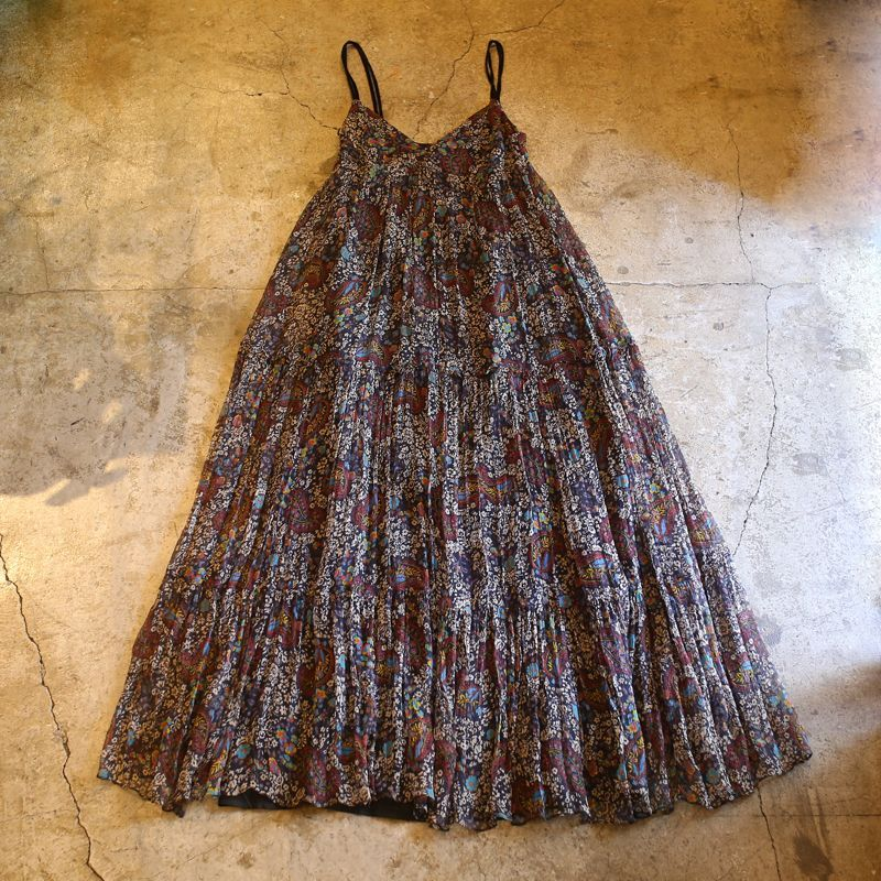 画像1: FLORAL PATTERN GATHER SILK ONE-PIECE (1)