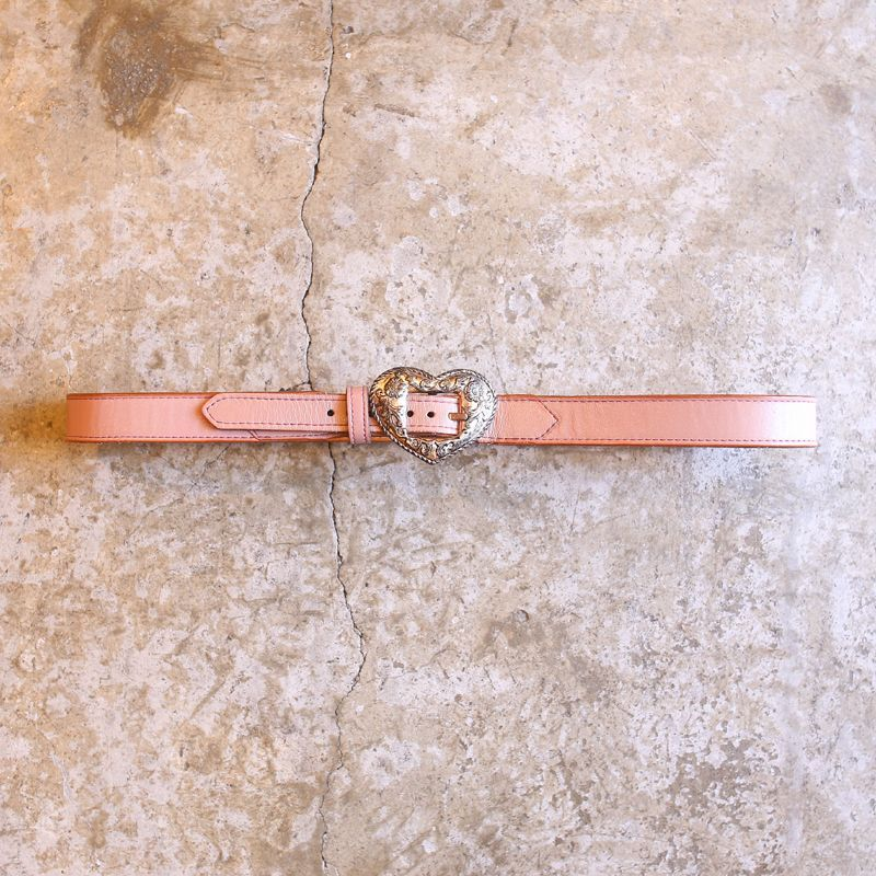 画像1: 1990's VINTAGE HEART DESIGN LEATHER BELT / MADE IN USA (1)