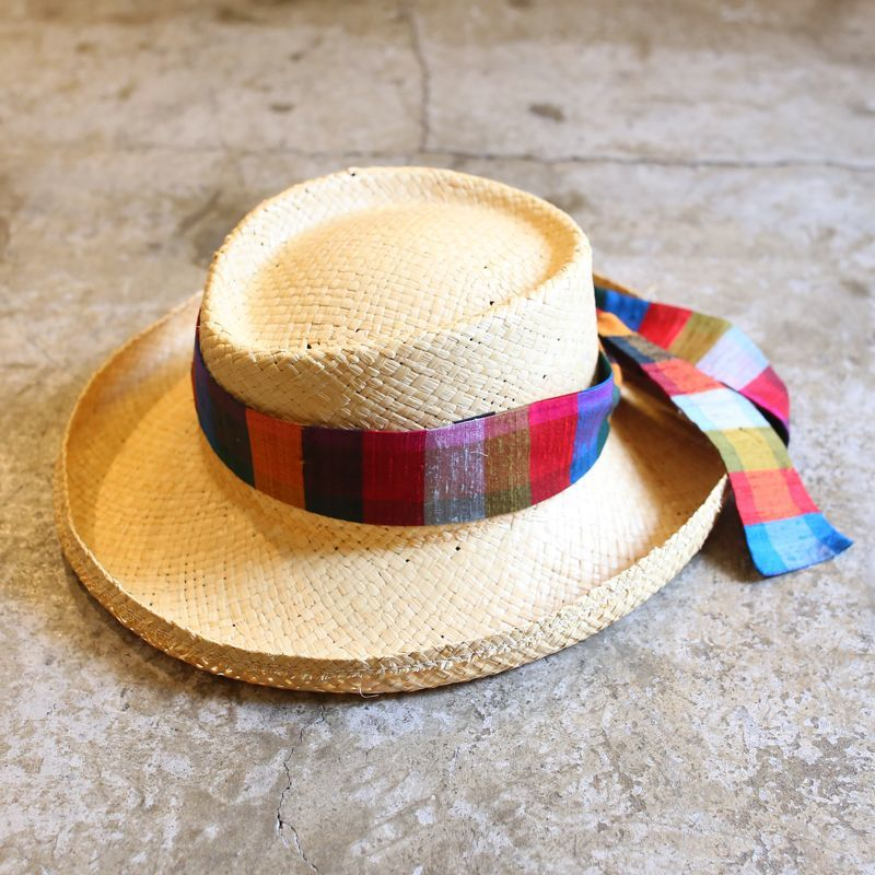 画像1: RIBBON DESIGN STRAW HAT / MADE IN USA (1)