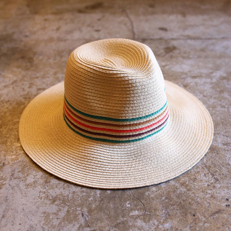 画像1: COLORFUL LINE DESIGN STRAW HAT (1)