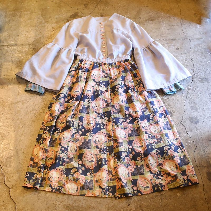 画像1: VINTAGE BUTTON DOWN DESIGN ONE-PIECE (1)