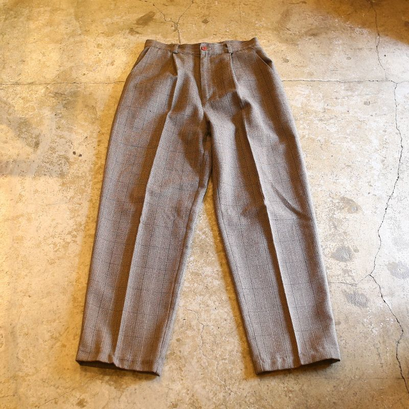 画像1: 1TUCK DESIGN CHECK PANTS / W26~W27 (1)