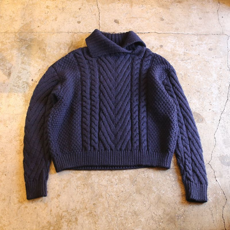 画像1: NECK DESIGN CABLE KNIT (1)