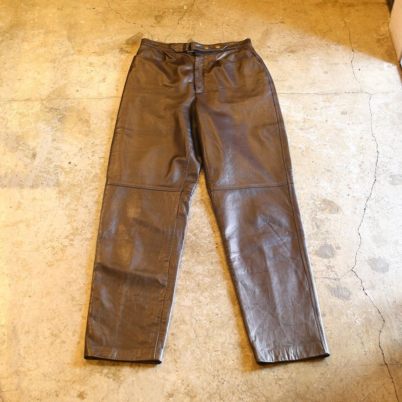 画像1: LEATHER DESIGN PANTS / W28 (1)