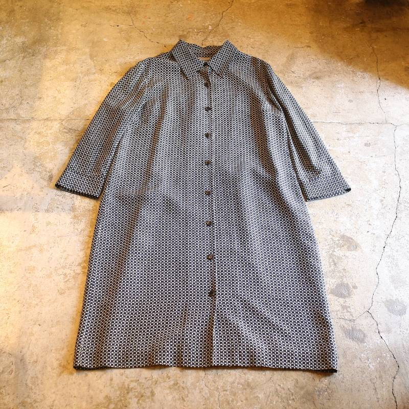 画像1: ALL OVER PATTERN SHIRT DESIGN SILK ONE-PIECE (1)