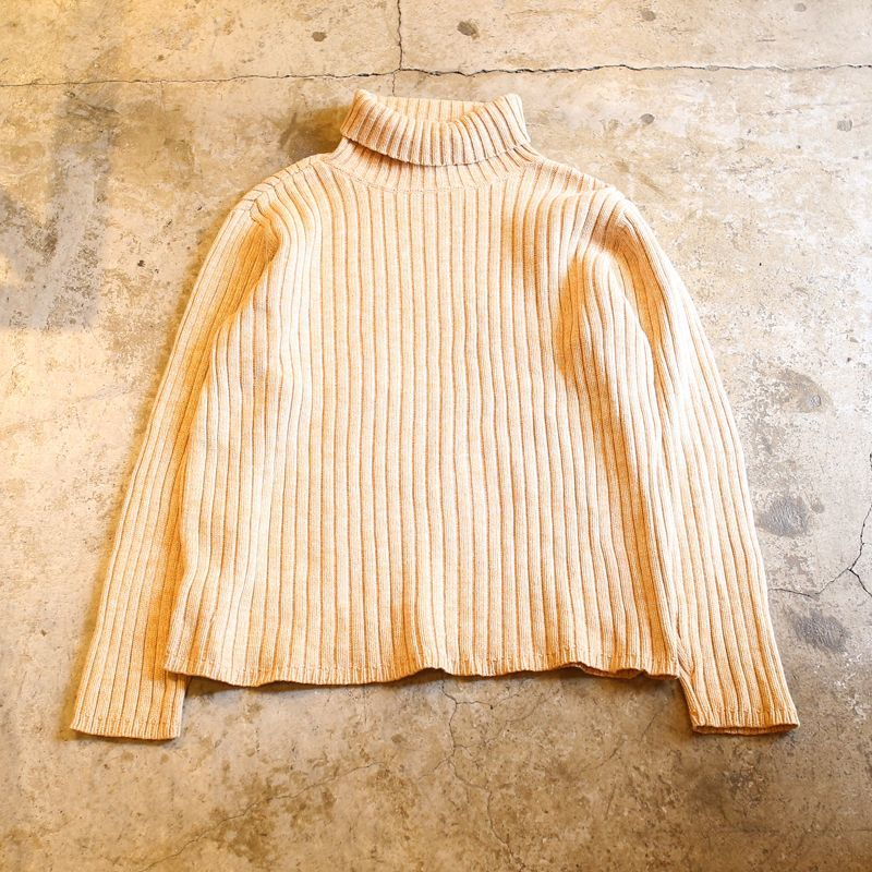 画像1: RIB DESIGN TURTLE NECK KNIT SWEATER / L (1)