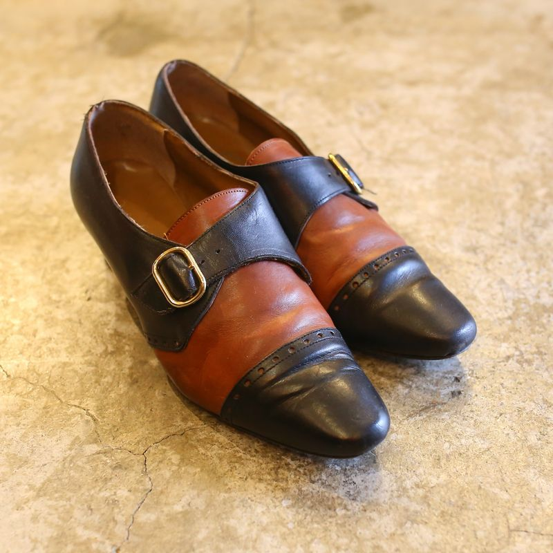 画像1: BICOLOR DSIGN LEATHER SHOES / 38 / MADE IN ITALY (1)