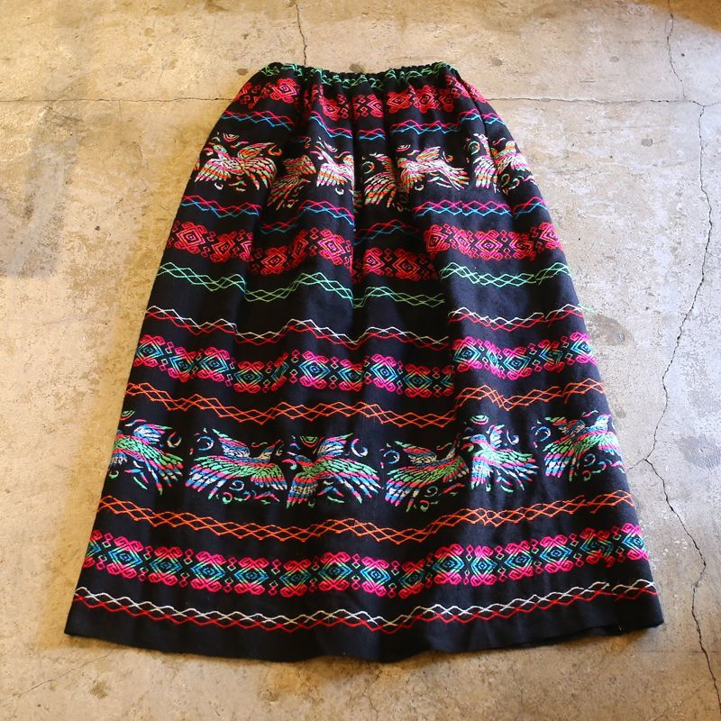 画像1: VINTAGE BIRD PATTERN EMBROIDERY SKIRT (1)