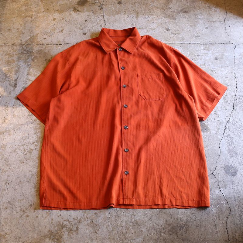 画像1: STRIPE DESIGN SILK SHIRT / Mens L (1)
