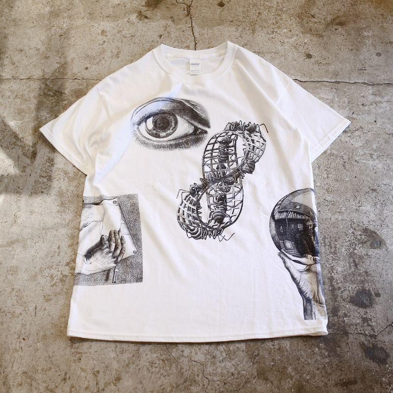 "画像1: ""Maurits Escher"" MULTI ART TEE / Mens L / WHITE (1)"