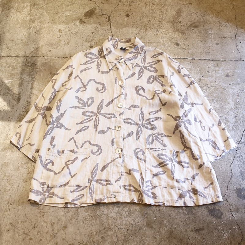 画像1: FLORAL PATTERN LINEN L/S SHIRT / Ladies L / MADE IN USA (1)
