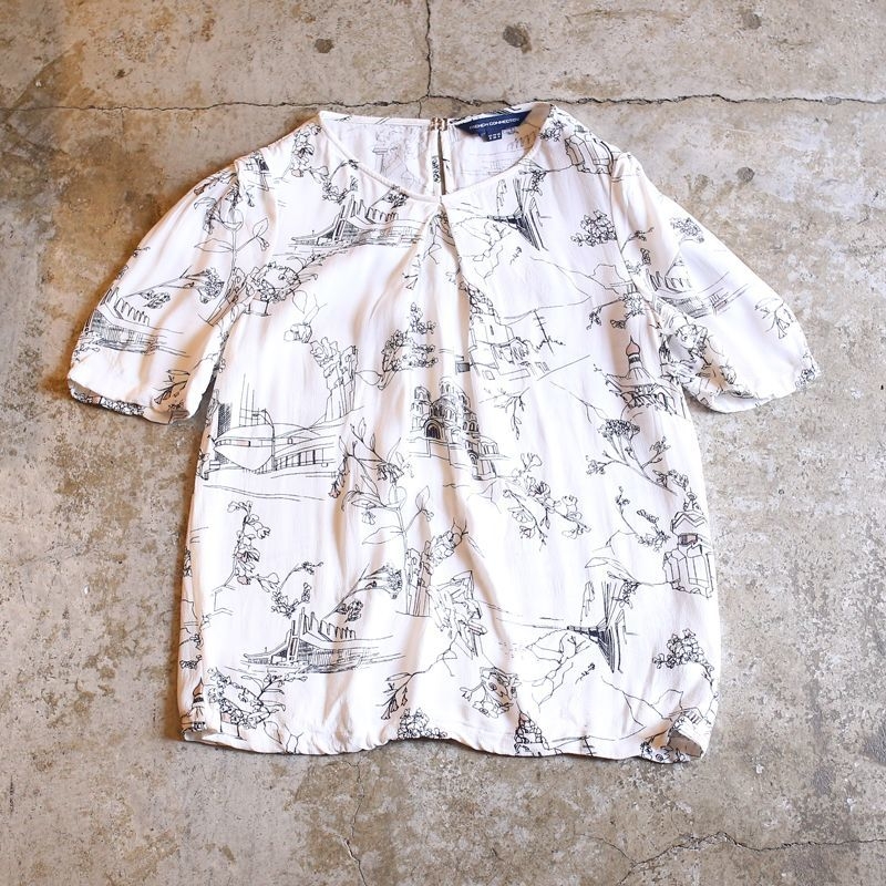 画像1: ARTISTIC PATTERN DESIGN BLOUSE / Ladies S (1)