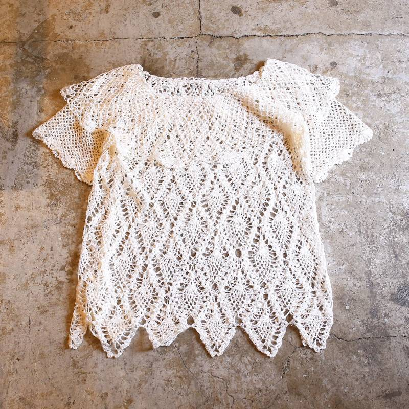 画像1: VINTAGE MESH DESIGN FRILL TOPS / Ladies S~M (1)