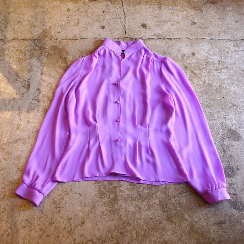 画像1: COLOR DESIGN CHIFFON SHIRT BLOUSE / Ladies S~M (1)