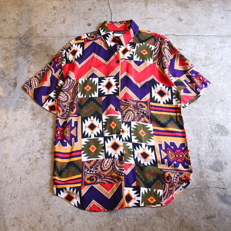 画像1: FULL PRINT DESIGN S/S SHIRT / Ladies L (1)