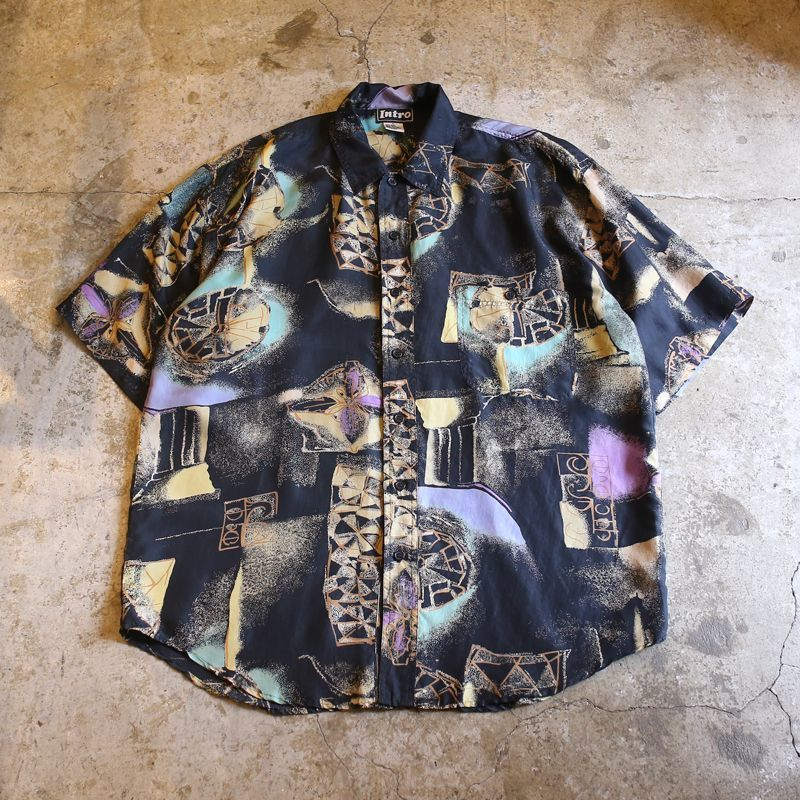 画像1: ARTISTIC PATTERN SILK SHIRT / Mens M (1)
