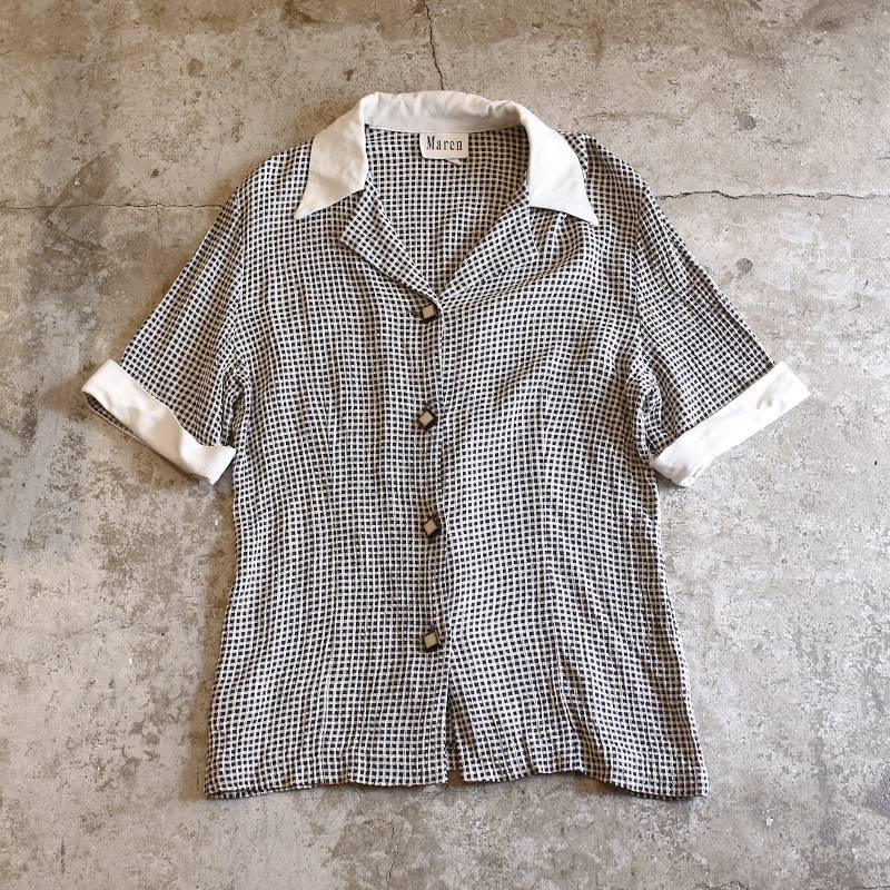 画像1: CHECK PATTERN DESIGN S/S SHIRT / Ladies S (1)