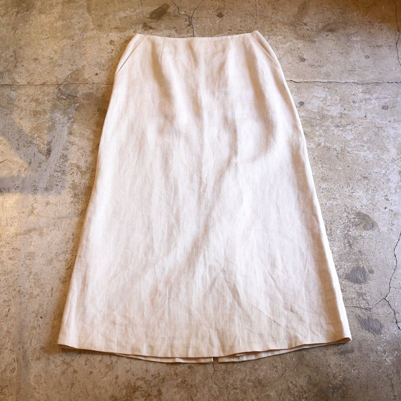 画像1: BACK SLIT DESIGN LINEN SKIRT / W28 (1)