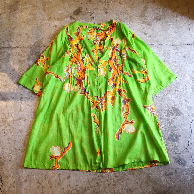 画像1: CORAL PATTERN DESIGN LONG SHIRT / FREE SIZE (1)