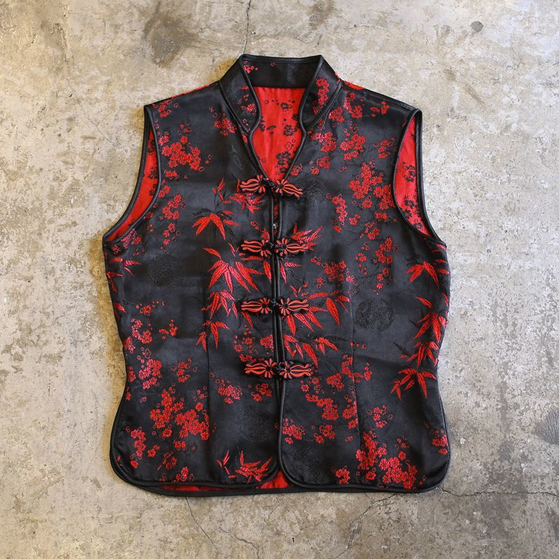 画像1: BOTANICAL EMBROIDERY CHINA VEST / Ladies S (1)