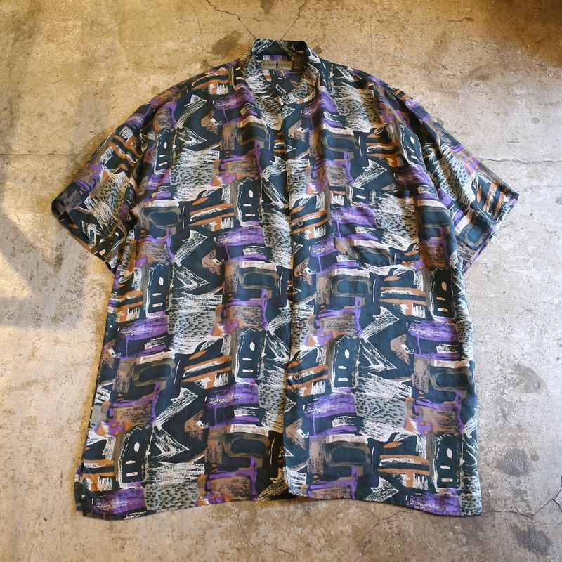 画像1: ARTISTIC PATTERN SILK SHIRT / Mens XL (1)