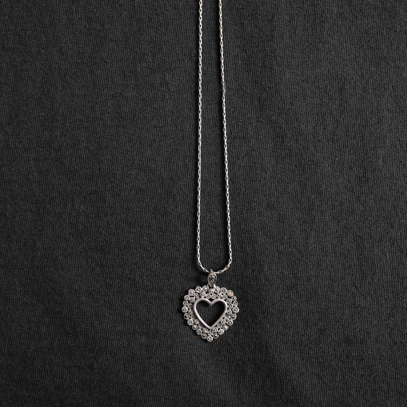画像1: HEART PENDENT DESIGN NECKLACE / SILVER 925 (1)