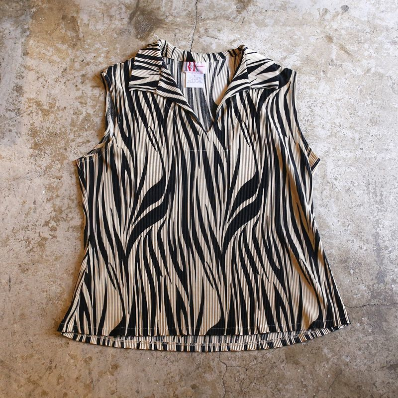画像1: ART PATTERN PLEATED DESIGN N/S TOPS / Ladies S (1)