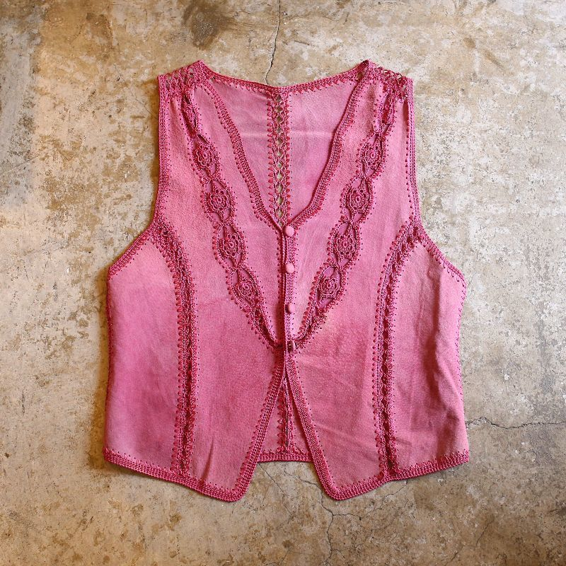 画像1: LACE DESIGN SUEDE VEST / Ladies S (1)