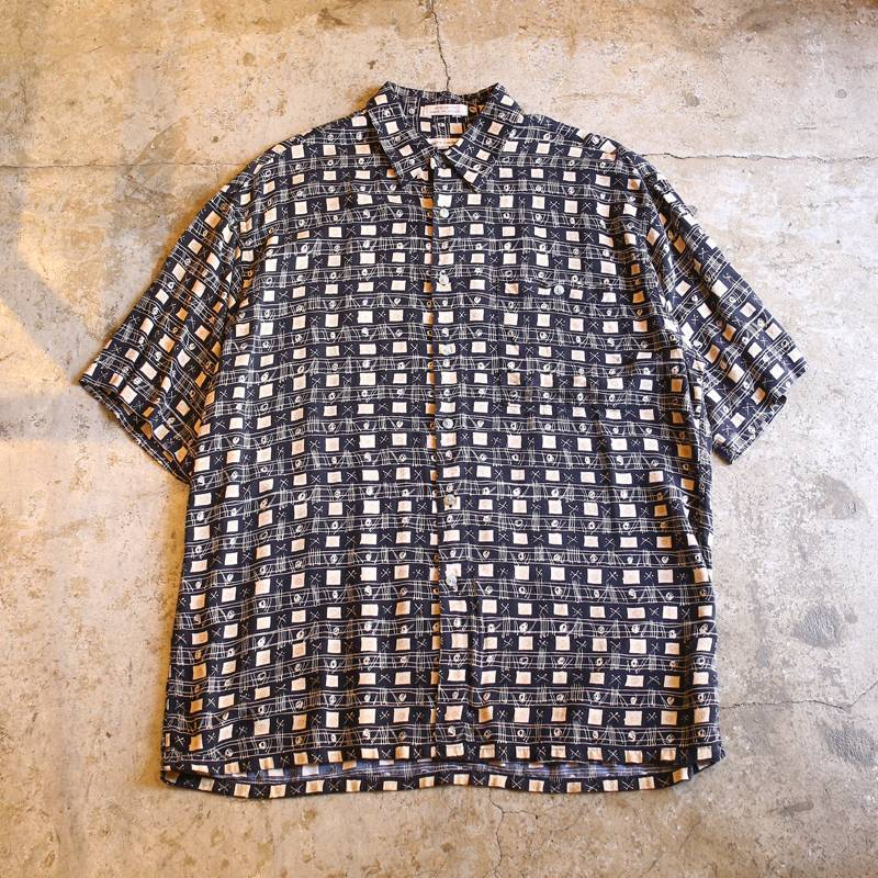 画像1: GRAPHIC DESIGN RAYON SHIRT / Mens L (1)