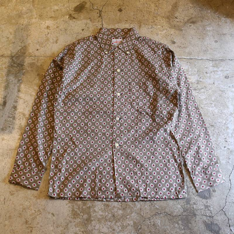画像1: VINTAGE ALL OVER PATTERN L/S SHIRT / Mens S (1)