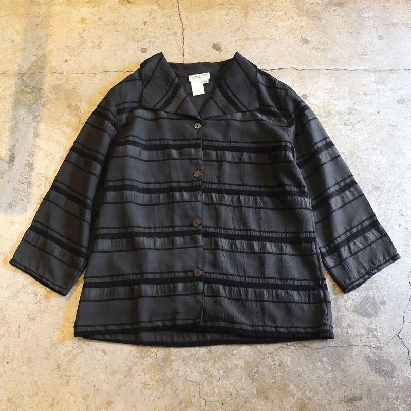 画像1: BORDER DESIGN O/C SHIRT / Ladies M (1)