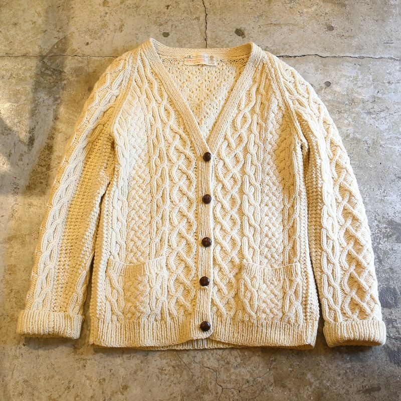 画像1: ARAN KNIT CARDIGAN / Ladies M~L / MADE IN IRELAND (1)