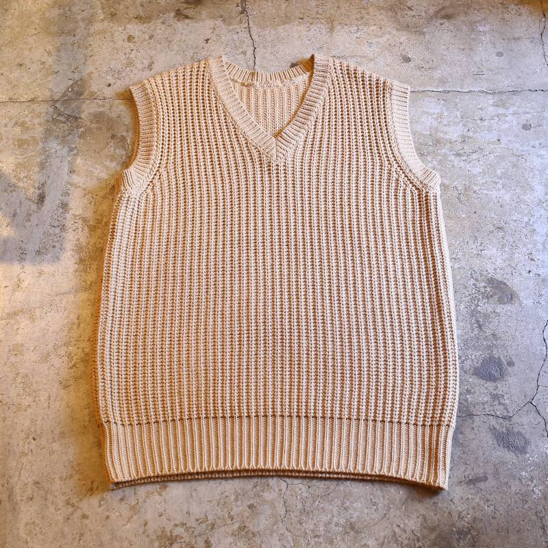 画像1: OVER V-NECK KNIT VEST / Ladies L (1)