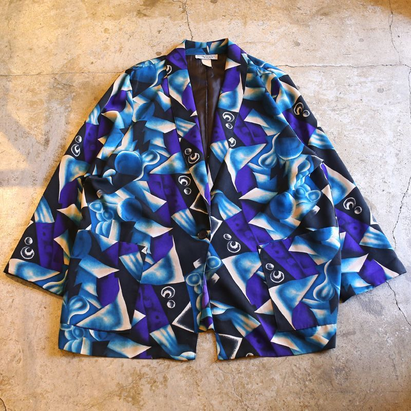 画像1: ARTISTIC PATTERN TAILORED JACKET / Mens 2X / MADE IN USA (1)